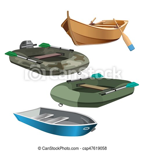 Set of boats realistic vector illustration isolated on white - csp47619058