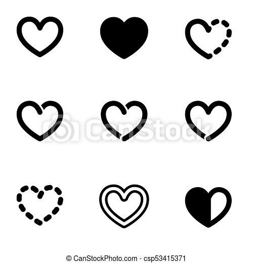 Set Of Bold Line Graphic Heart Symbols