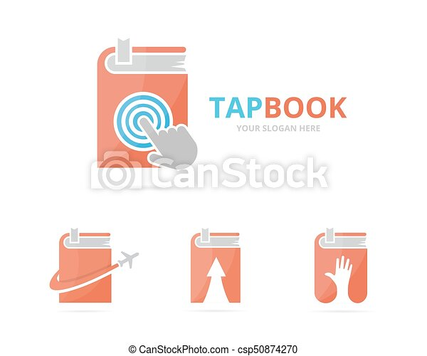 Set of book logo combination. Novel and cursor symbol or icon. Unique bookstore, library and digital logotype design template. - csp50874270