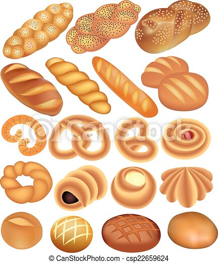 set of bread wheat on white - csp22659624