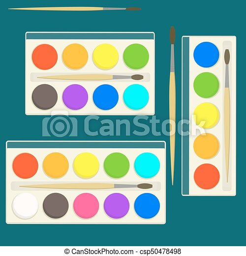 set of bright flat vector watercolor paints in box for drawing lessons with  different colors palette. set of bright flat | canstock  can stock photo
