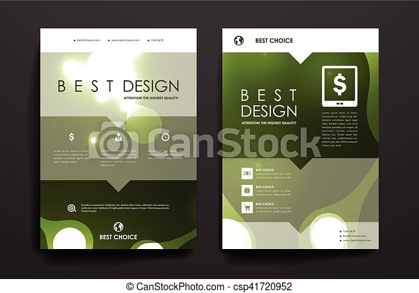 Set of brochure, poster design templates in neon molecule structure style - csp41720952