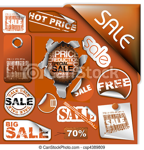 Set of brown discount tickets, labels and stamps - csp4389809