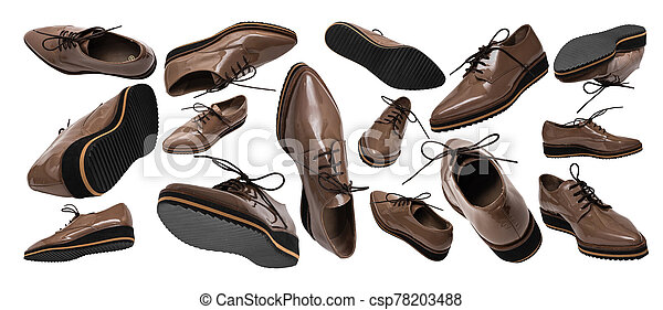 Set of brown patent leather shoes in different positions and angles isolated on white background. Banner. Flying or levitating objects. Women's fashion shoes concept. - csp78203488
