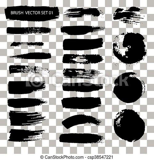 set of brush stroke vector stains isolated vector illustration rh canstockphoto com brush stroke vector png brush stroke vector free download