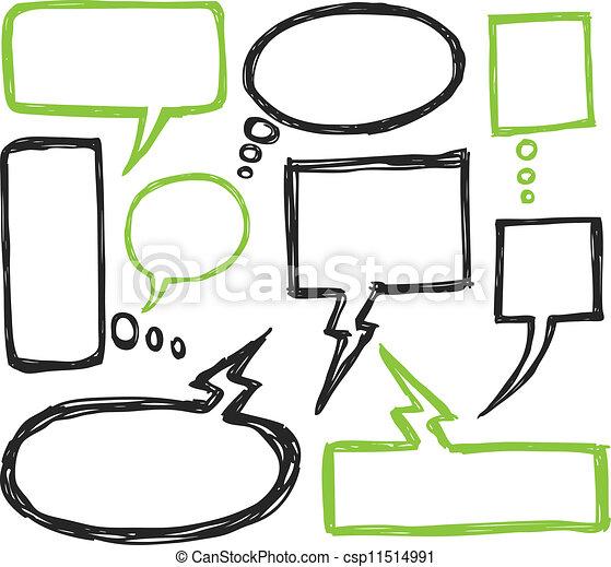 set of bubble speech doodle - csp11514991