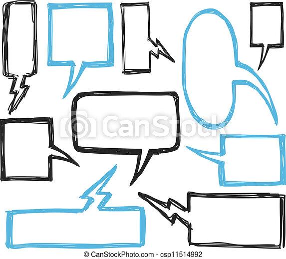 set of bubble speech doodle - csp11514992