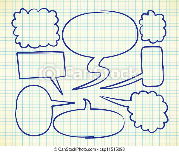 Set of bubble speech doodle - csp11515098