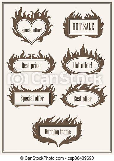 Set of burning fire frame borders hot sale and best offer symbols vector illustration. Eps10 - csp36439690