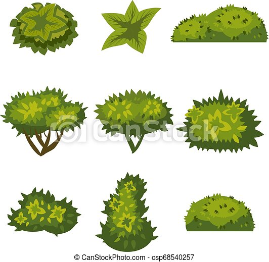Set of bushes in cartoon style for decoration on your works, grass in cartoon style, green plants, vector - csp68540257