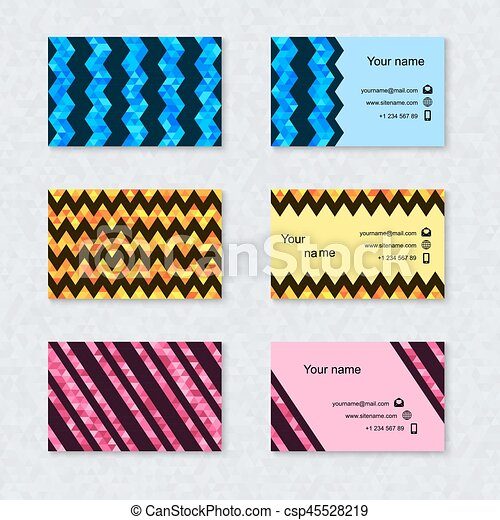 set of business card with geometric triangular background