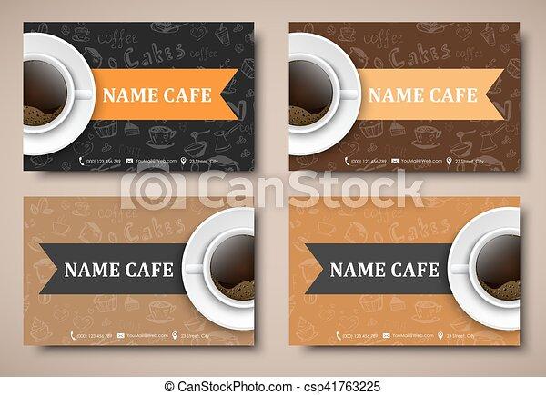 Set of business cards coffee cafes restaurants templates with set of business cards coffee cafes restaurants csp41763225 colourmoves