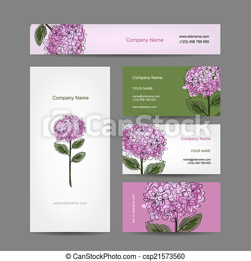 Set of business cards design with hydrangea flower - csp21573560