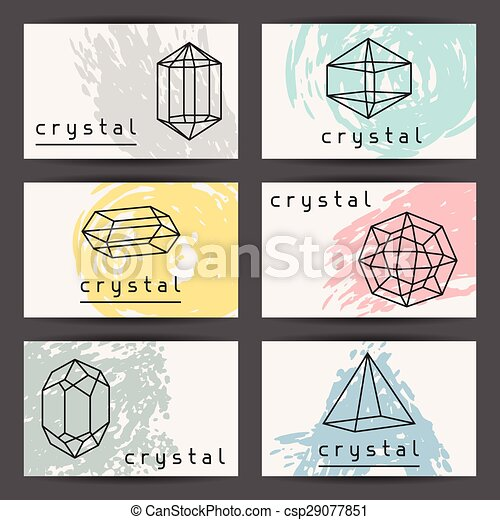 Set of business cards with geometric crystals and minerals clipart set of business cards with geometric crystals and minerals csp29077851 colourmoves Images