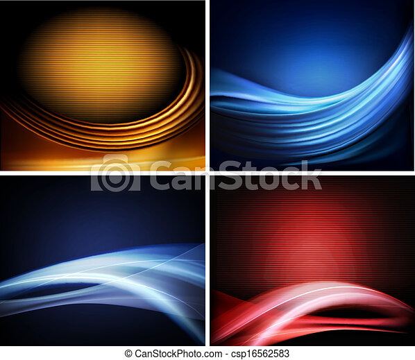 Set of business elegant colorful abstract backgrounds. Vector illustration - csp16562583