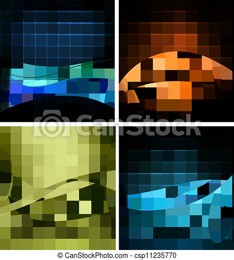 Set of business elegant colorful abstract backgrounds. Vector illustration  - csp11235770