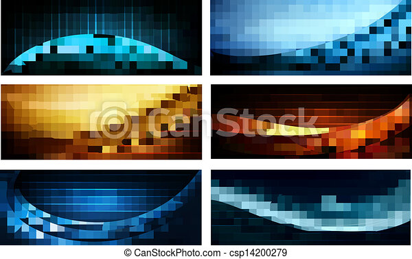 Set of business elegant colorful abstract backgrounds. Vector illustration - csp14200279