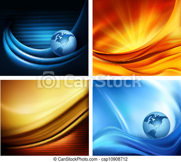 Set of business elegant colorful abstract backgrounds. Vector illustration - csp10908712