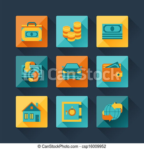 Set of business icons in flat design style. - csp16009952