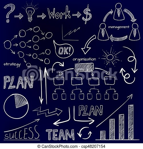 Set of business icons. Plan, team work, graph, light bulb, money sign, hand drawn arrows, organization scheme, management system. VECTOR doodle icons. White on blue - csp48207154