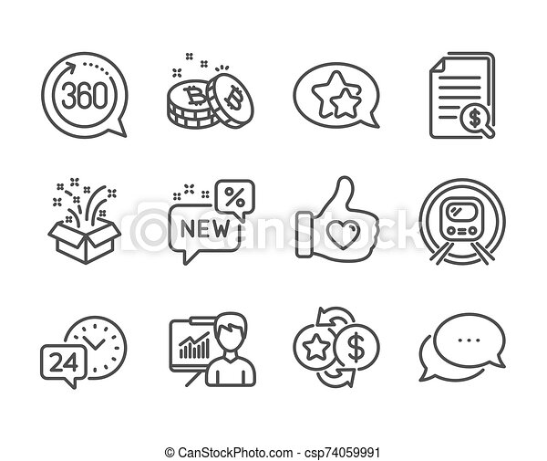 Set of Business icons, such as Financial documents, Loyalty points, Metro subway. Vector - csp74059991