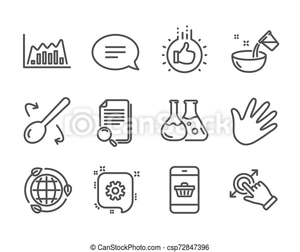 Set of Business icons, such as Like hand, Touchscreen gesture, Chat. Vector - csp72847396