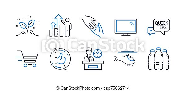 Set of Business icons, such as Startup concept, Helicopter, Monitor. Vector - csp75662714