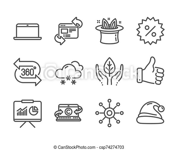 Set of Business icons, such as Copywriting notebook, Like hand, Multichannel. Vector - csp74274703