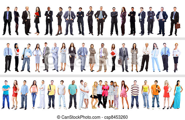 Set of business people isolated on white - csp8453260