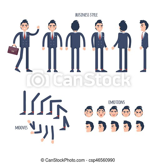 Set of Business Style, Face Emotions, Moves Flat - csp46560990