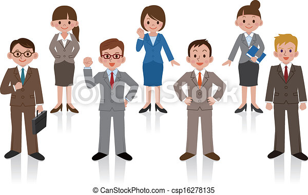 Set of business woman and business  - csp16278135