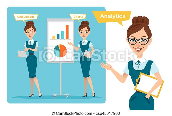 Set of business woman characters poses. Girl speaks. Girl shows profit growth graph and calculates finance - csp45017960