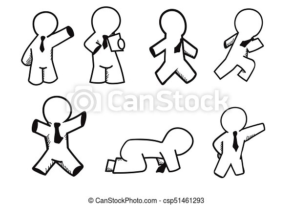 Set Of Businessman Character Cartoon Design Easy To Apply
