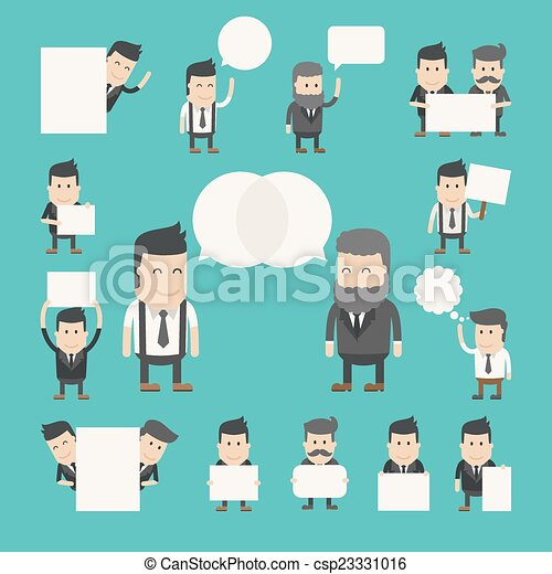 Set of businessman in conversation , discuss , debate - csp23331016