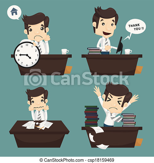 Set of businessman sitting on desk , office worker - csp18159469