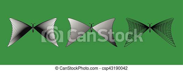 Set of butterflies silhouettes, - csp43190042