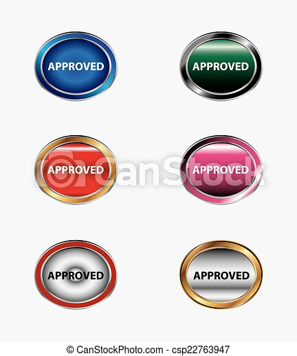 Set of button Approved icon - csp22763947