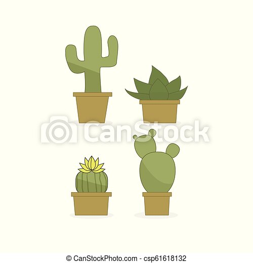 Set of cactuses on a white background - csp61618132