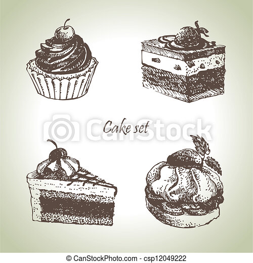 Set of cakes. Hand drawn illustrations  - csp12049222