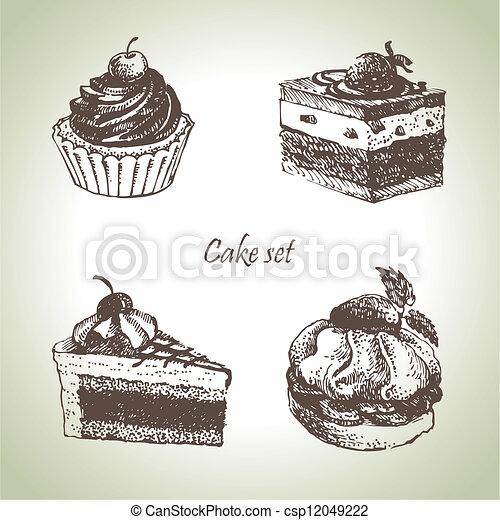 Set of cakes. Hand drawn illustrations  - csp12049222