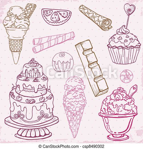Set of Cakes, Sweets and Desserts - hand drawn in vector - csp8490302
