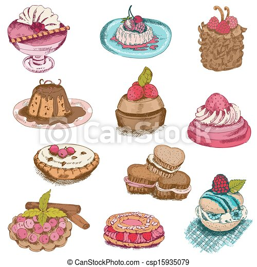 Set of Cakes, Sweets and Desserts - hand drawn in vector - csp15935079