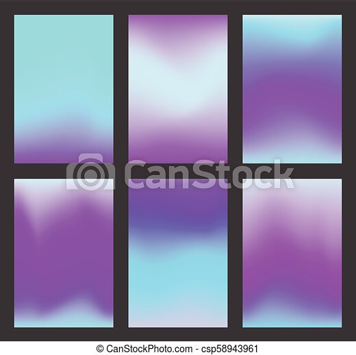 Set of calm blue and violet gradient ui background