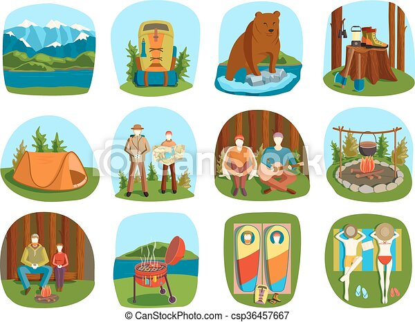 Set Of Camping Equipment Symbols And Icons Summer Outdoor Vacation Vector Illustration
