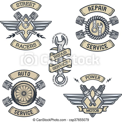 Set Of Car Emblems Badges Symbols Set Of Car Emblems Badges