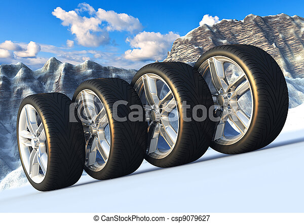 Set of car wheels in snowy mountains - csp9079627