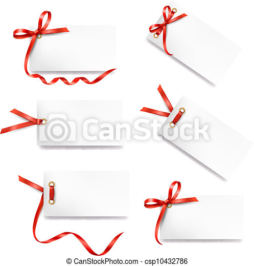 Set of card note with red gift bows - csp10432786