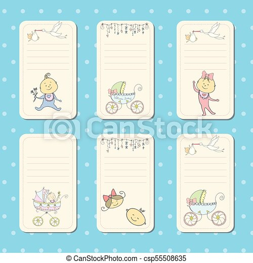 set of cards for newborn baby vector templates for scrapbooking