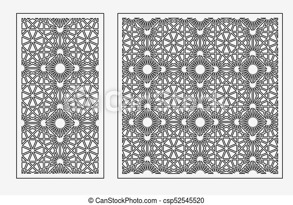set of cards to cut vector panels for laser cutting the ratio 1 1