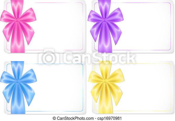 Set of cards with coloured ribbons - csp16970981